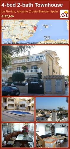 Terraced (End) House for Sale in La Florida, Costa Blanca, Spain with 4 bedrooms, 2 bathrooms - A Spanish Life Spacious Living Room, Downstairs Bathroom, Semi Detached, Alicante, Malaga, Townhouse, Terrace, Costa, Spain