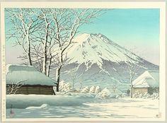 Hasui, Kawase - Mount Fuji- Clearing after a Snowfall in Oshiono (1952)