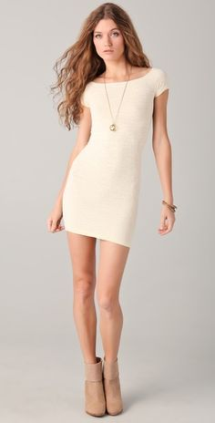 Free People/Off the shoulder textured dress/Vanilla. LOVE.