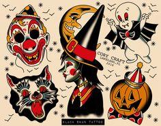 Halloween Tattoo Flash by GlitterGhostStore on Etsy - Halloween Tattoos, Hawaiianisches Tattoo, Clown Tattoo, Witch Tattoo, Tattoo Pain, Tiny Tattoo, Small Tattoos, Halloween Tattoo Flash, Flash Art Tattoos, Traditional Tattoo Halloween
