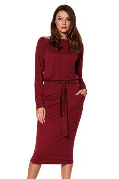 Burgundy Roll-tab Long Sleeve Tie Waist Midi Dress only US 24.51  2368d0d84433