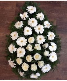 Coroana flori albe, Funeral wreath white flowers Funeral Bouquet, Gerbera, White Flowers, Wreaths, Bouquets, Door Wreaths, Deco Mesh Wreaths, Floral Arrangements, Garlands