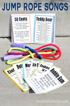 Jump rope continuously, without error, for 30 seconds. -Jump rope songs are fun sing in the summer or at school. A great way to incorporate music and fitness. Package with a new jump rope for unique gift ideas. School Age Activities, Pe Activities, Indoor Activities, Physical Activities, School Age Games, Music Education Activities, Physical Education Lessons, Movement Activities, Fitness Activities