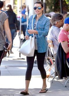 Downcast: Lea looked glum and was dressed in a denim jacket, tank top, leggings and flip flops Larchmont Village, Lea Michele, Denim Skirt, Boyfriend, Leggings, Street Style, Style Inspiration, Tank Tops, My Style