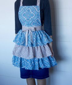Ladies Triple Tiered Apron Made From Vintage by Vintage Sheets, Aprons, Hand Sewing, All Things, Buy And Sell, Content, Lady, Fabric, Handmade