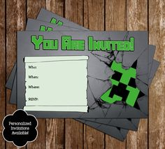 Novel Concept Designs - Free Minecraft Creeper Inspired Birthday Invitation Printable