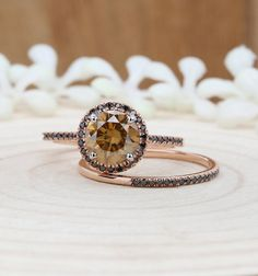 Items similar to Moissanite Wedding Ring Set, Rose Gold Round Half Eternity Diamond Band, Bridal Ring Set on Etsy Moissanite Wedding Rings, Morganite Engagement, Rose Gold Engagement Ring, Vintage Engagement Rings, Bridal Ring Sets, Bridal Rings, Rose Gold Morganite Ring, Gold Ring, Diamond Bands