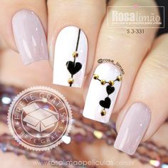 Black and White Valentines Nails - Nageldesign - Black Nail Designs, Nail Art Designs, Nails Design, Nail Designs With Hearts, White Nails, Pink Nails, Red Black Nails, Gorgeous Nails, Pretty Nails