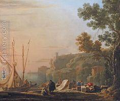 Jan Asselyn:A Mediterranean coastal inlet with merchants unloading boats, a temple beyond