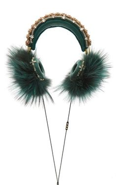 Green Embroidered Nappa Leather Headphones With Fox Fur Trim by Dolce & Gabbana for Preorder on Moda Operandi <3 B