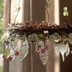 Cherries A Sunshower Chandelier Girls Chandelier, Beaded Chandelier, Chandeliers, Copper Branch, Fairy Room, Wire Flowers, Tiny Treasures, Paint Party, Wire Art