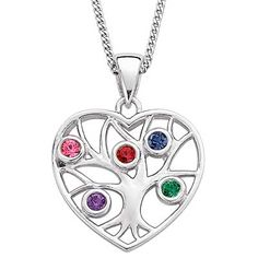"""Family Tree Simulated Birthstone Heart Pendant in Sterling Silver (2-5 Stones) - Zales  I've always thought of aquamarine as my birthstone, and the color of the """"March"""" stone looks more like aquamarine to me. In this case it would be nice to have the stones in the order of 1. January, 2. March, 3. October."""