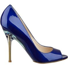 Nine West Delilah (2 130 UAH) ❤ liked on Polyvore featuring shoes, pumps, heels, blue, blue patent leather, peep toe pump, peep-toe pumps, nine west shoes, blue patent pumps and blue high heel pumps