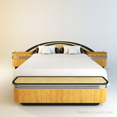 God, this is beautiful... Art Deco bed with Spanish cedar and Bird's Eye Maple veneer.