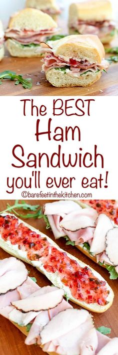 The BEST Ham Sandwich you will ever eat is sweet, spicy, and a little bit of everything! get the recipe at barefeetinthekitc. The Best Ham Sandwich You'll Ever Eat Chili Pepper Madness chilipeppermadness [ Burgers and Sandwiches ] The BEST Ham Sa Best Ham Sandwich, Ham Sandwich Recipes, Roast Beef Sandwich, Sandwich Fillings, Soup And Sandwich, Deli Sandwiches, Finger Sandwiches, Breakfast Sandwiches, Eat Breakfast