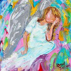 Original oil painting Angel  The Thinker  6x6 by Karensfineart