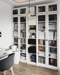 Home Office Bookshelves Ikea Billy Bookcases 62 Super Ideas Home Library Rooms, Home Libraries, Libreria Billy Ikea, Bookcase With Glass Doors, Glass Shelves, Wall Shelves, Living Room Designs, Living Spaces, Ikea Billy Bookcase