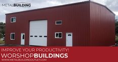 Workshop Buildings Built to Fit Your Needs! Metal Building Outlet supplies durable workshops that give you all the space you need, at a fraction of the cost. Contact us today and get started on your new workshop! Shop Buildings, Metal Buildings, Metal Shop Building, Metal Workshop, Steel Garage, Garage Kits, Prefab, Garages, Improve Yourself