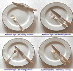 Dining with good manners is very important. When you have finished eating, note where you place your utensils. Dinning Etiquette, Table Setting Etiquette, Table Settings, Table Manners, Good Manners, Comment Dresser Une Table, Proper Table Setting, Etiquette And Manners, Cuisine Diverse