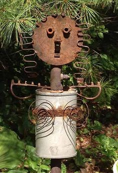 Myra Glandon I Wanted To Share One Of Our Scrap Metal Sculptures. This Is  Our Garden Angel Made From A Muffler, Garden Rake, Chair Springs, And Other  Junk.