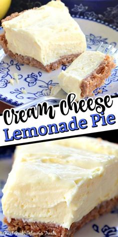 Cream Cheese Lemonade Pie is a deliciously tart, no bake, lemony pie perfect on a hot summer day. Lemon Dessert Recipes, Lemon Recipes, Cheesecake Recipes, Baking Recipes, Sweet Recipes, Kitchen Recipes, Summer Desserts, Easy Desserts, Delicious Desserts