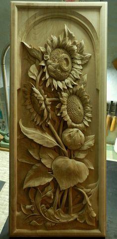 Resultado de imagen para sunflower wood carving panels