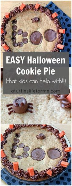 This Halloween Cookie Pie is so easy to make that even your kids can do it! The dough only takes a couple minutes to mix up and the decorating is just placing candy in a pattern! This is perfect for people who might not have decorating skills or special tools!  #HersheysHalloween #ad