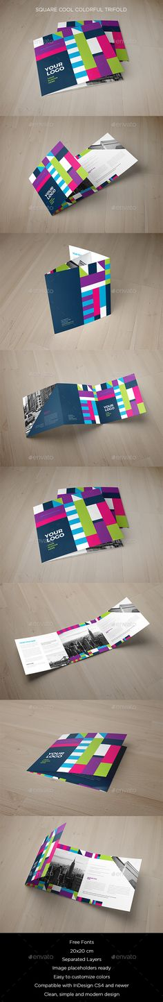 Square Cool Colorful Trifold - #Brochures Print Templates Download here: https://graphicriver.net/item/square-cool-colorful-trifold/19747585?ref=alena994