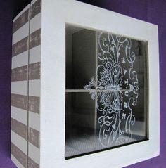 Caja de te,con tapa de vidrio pintada a mano