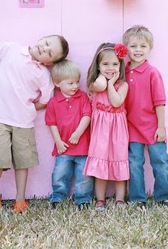 Color combo ideas for siblings - use various shades of the same base color