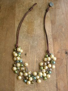 Boho chic pearl necklace  Bubbly  Bohemian crochet by 3DivasStudio, $72.00