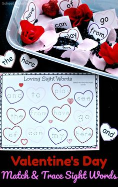School Time Snippets: Valentine's Day Sight Word Match and Trace Activit... Pinned by The Stepping Stones Group SOS Resources pinterest.com/sostherapy.