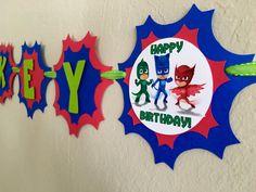 Pj Masks Birthday Banner Pj Masks Birthday Pj by LisasPartyShoppe