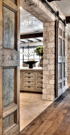 Barn Door Decor Romantic Indoor Barn Wedding Decor Ideas With Lights . 35 Rustic Old Door Wedding Decor Ideas For Outdoor Country . Decorating: Nice Bypass Sliding Barn Door Hardware For . Home and Family Style At Home, Interior Barn Doors, Antique Interior, Exterior Doors, Interior Stone Walls, Farmhouse Interior, Kitchen Interior, Farmhouse Style, Farmhouse Decor
