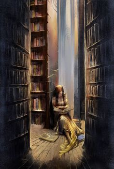 a girl reading the book about love and joy in a misty liberay.