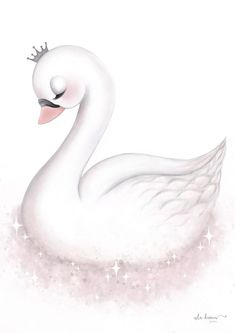Engel - Version 1 - Tutu Irresistible Boutique - Betty's - Cute Animal Drawings, Cute Drawings, Nursery Prints, Nursery Art, Wall Prints, Scrapbooking Image, Lila Baby, Baby Swan, Beautiful Swan