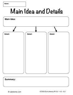 iPad Graphic Organizer - Main Idea and Details - Plain