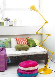 yellow Jieldé floor lamp