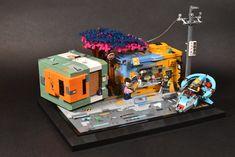 Cyberpunk Food Stall Cyberpunk City, Lego Craft, Lego Modular, Food Stall, Cool Lego Creations, Lego Worlds, Lego Design, Lego Architecture, Lego News