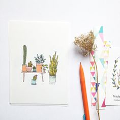 House plants cards, art print, plants, urban jungle illustration, plants illustration, cactus, set of 4 cards de la boutique mademoiselleyo sur Etsy