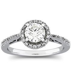 1 Carat Diamond Halo Engagement Ring Prong Set in 18k Gold