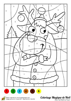 Actividades Navideñas Para Niños Coloreando -Reno Coloriage de noel à imprimer Christmas Color By Number, Christmas Colors, Christmas Fun, Christmas Worksheets, Christmas Activities, Craft Activities For Kids, Preschool Crafts, Colouring Pages, Coloring Pages For Kids