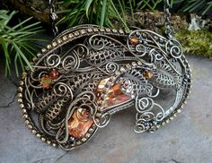 Gothic Steampunk Paisley Pin Pendant in Topaz by twistedsisterarts, $174.95
