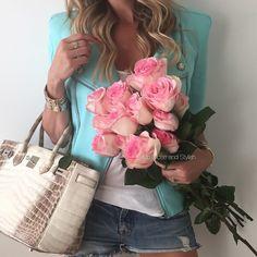 Fresh roses and Balmain . #PierreBalmain jacket, #Forever21 tank, #JBrand denim short... | Use Instagram online! Websta is the Best Instagram Web Viewer!