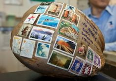 """How to mail a coconut postcard from Hawaii"" -Seriously, I've seen one of these and it was one of the most awesome things ever!!"