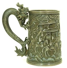 FABULOUS CHINESE SILVER DRAGON HANDLE CUP