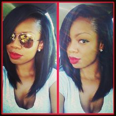 Full sew in; Love this look!!! I could do it on my hair by roller setting to create volume, and then flat ironing my hair...