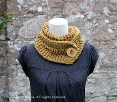 Dijon Chunky Lace Button Scarf Knitting Pattern