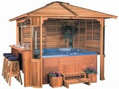 Putting a jacuzzi outdoors and discovering a great view will assist you unwind and develop an inner peace which is the most crucial for you. Hot Tub Gazebo, Hot Tub Deck, Outdoor Spaces, Outdoor Living, Outdoor Decor, Tub Enclosures, Jacuzzi Outdoor, Small Backyard Landscaping, Backyard Ideas