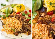 Mexican Red Rice and Pork Carnitas Pork Recipes, Mexican Food Recipes, Cooking Recipes, Crockpot Recipes, Mexican Meals, Vegetarian Recipes, Healthy Recipes, Burritos, Pork Carnitas Recipe
